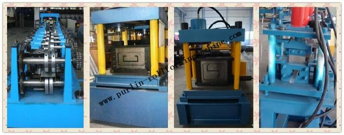 Hydraulic PLC Control Purlin Roll Forming Machine , Z Purlin Making Machine
